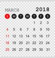 march 2018 calendar calendar planner design vector image
