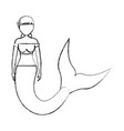 mermaid with hairstyle picked vector image