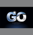 metal blue alphabet letter go g o logo company vector image vector image