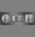 metal buttons on perforated texture vector image vector image