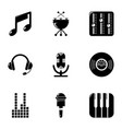 music icons set simple style vector image vector image