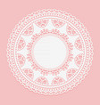 openwork white doily lace frame circle white vector image vector image