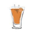 orange cocktail hand drawn in sketch retro style vector image