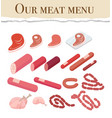 our meat menu for restaurant vector image