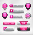 Pink Glossy Web Elements Button Set vector image vector image