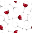 realistic detailed 3d wine glass seamless pattern vector image vector image