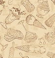 Retro sketch seamless pattern of ice cream vector image