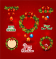 set christmas wreath balls label vector image