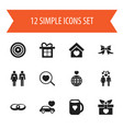 set of 12 editable heart icons includes symbols vector image vector image