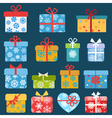 Set of different colorful christmas gift boxes vector image vector image