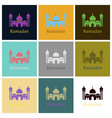 set of icons in flat style ramadan mosque vector image
