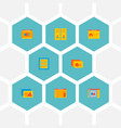 set website icons flat style symbols vector image vector image