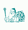 silhouette of santa claus beige with a staff and a vector image vector image