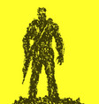 silhouette of soldier with rifle pointing down vector image vector image