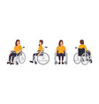 smiling young woman in wheelchair isolated on vector image vector image