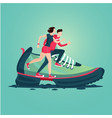 sneakers silhouette with running people pair a vector image