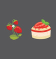 strawberry and cake isolated vector image