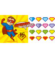superhero logo doodles set super hero character vector image