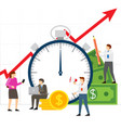 time is money team of people working on business vector image vector image