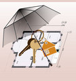 umbrella keyring with keys house plan background vector image vector image