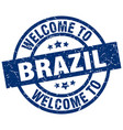 welcome to brazil blue stamp vector image vector image