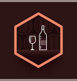 wine glass and wine bottle badge on dark vector image