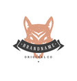 wolf hand drawn logo isolated on white background vector image vector image