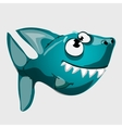 Cute toothy blue fish shark with big eyes vector image
