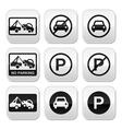 No parking cars buttons set vector image
