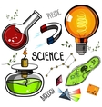 Colored Hand drawn science set vector image