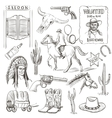 Hand drawn Wild West Collection vector image
