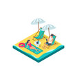 3d isometric man and woman couple with equipment vector image vector image