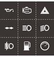 black car dashboard icon set vector image