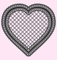 black frame in the shape of lacy heart isolated vector image