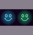 blue and green neon smile vector image vector image