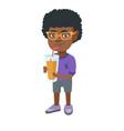 boy drinking orange juice through a straw vector image