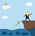 Businessman running away bacteria vector image