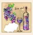 card with sketch grapes wine vector image vector image