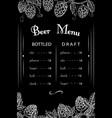 chalk drawn beer bar pub restaurant menu vector image vector image