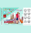 colorful travel to europe template vector image vector image