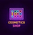 cosmetics shop neon label vector image