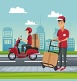 delivery service at city vector image