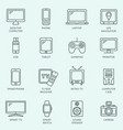 electronic devices outline icons modern vector image