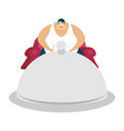 fat guy is sitting on chair and dish tray glutton vector image