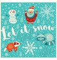 Greeting Holiday card with santa snowman raccoon vector image vector image