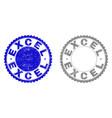grunge excel textured stamp seals vector image vector image
