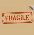 grunge fragile on cardboard background vector image