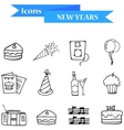 Hand draw of object New Year icons vector image vector image