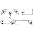 hand drawing set of halloween frames with skulls vector image