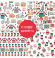hand drawn seamless patterns with hygge elements vector image vector image